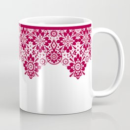 Retro .Vintage . Red lace on a white background . Coffee Mug