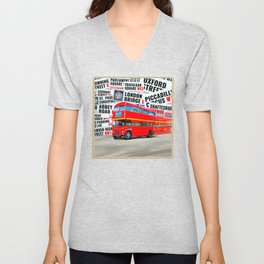Classic London - Red Double Decker Bus Unisex V-Neck