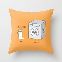 sock eating monster Throw Pillow