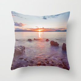 Sunset Lake Long Exposure (Color) Throw Pillow
