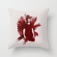 sam winchester Throw Pillows featuring Watercolor Sam Winchester by fairandbright