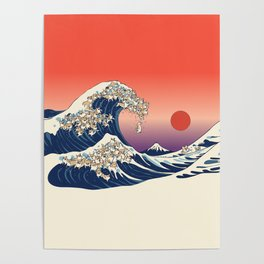 The Great Wave of Corgis Poster
