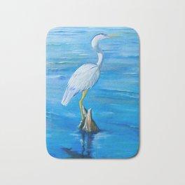 Great Blue Heron in Snug Harbor- Oil Painting Bath Mat