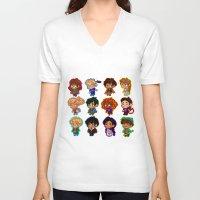 percy jackson V-neck T-shirts featuring Chibis of Olympus by chubunu