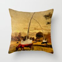 cows Throw Pillows featuring Cows by Gil Finkelstein