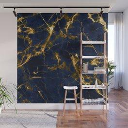Indigo Blue Marble with 24-Karat Gold Veins Wall Mural