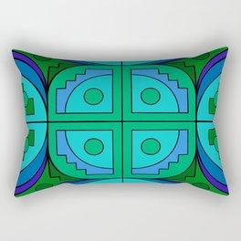 Blue Gear Pseudo-Quilt Rectangular Pillow