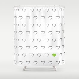 Hearts - Green Shower Curtain