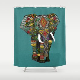 floral elephant teal Shower Curtain