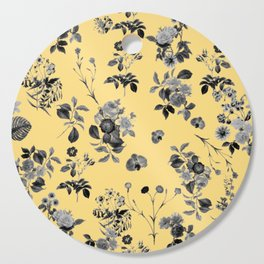 Black and White Floral on Yellow Cutting Board