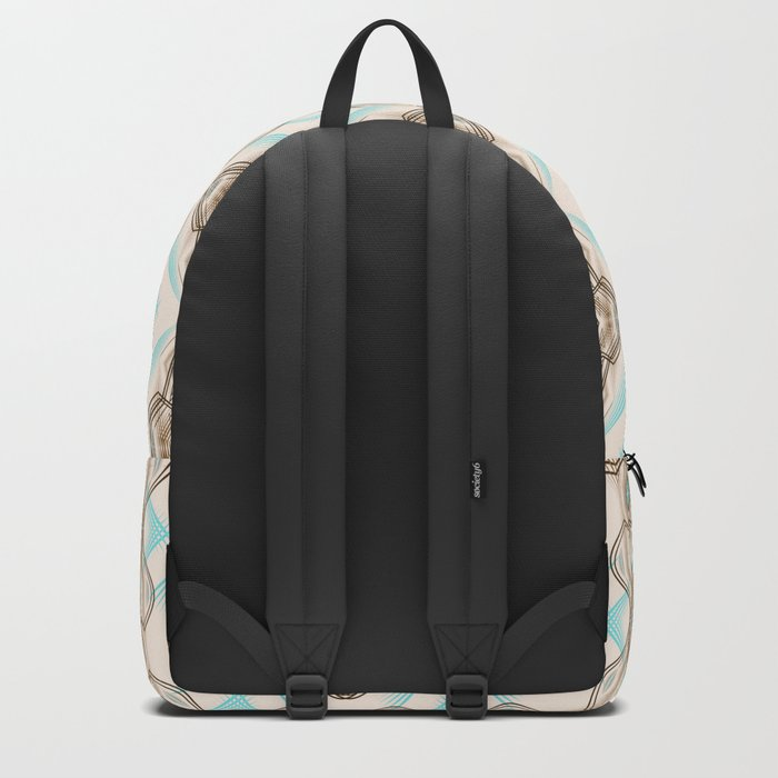 Art Deco . Turquoise brown white . Backpack