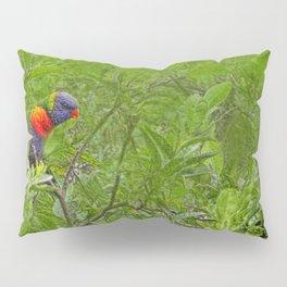 Grunge Rainbow Lorikeets in a tree Pillow Sham