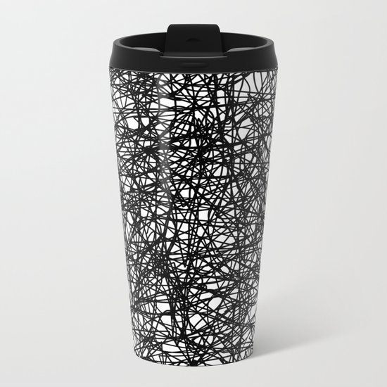 Angry Scribbles - Black and white, abstract, black ink scribbles pattern Metal Travel Mug