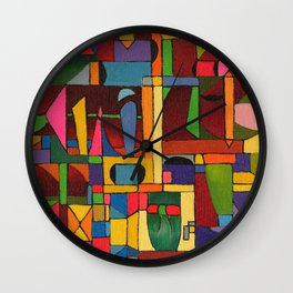 Colors In Collision 1 - Geometric Abstract of Colors that Clash Wall Clock