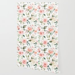 Sunny Floral Pastel Pink Watercolor Flower Pattern Wallpaper