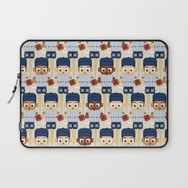 Baseball Pinstripes White and Blue - Super Cute Sports Stars Laptop Sleeve