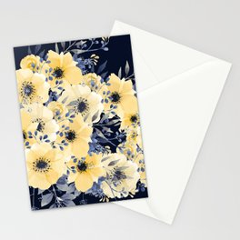 Floral Watercolor Print, Yellow and Navy Blue Stationery Cards