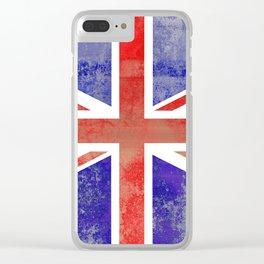 Grunge Union Jack Flag Clear iPhone Case