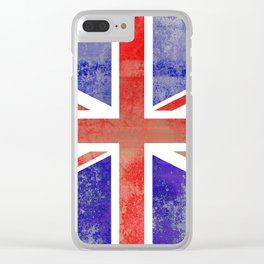 Grunge Union Jack Flag Clear iPhone Case