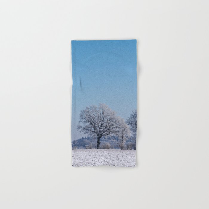 winter walk rural snow landscpape north Germany Hand & Bath Towel