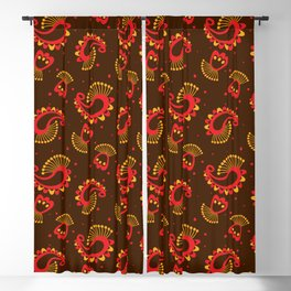 Red and Gold Peacock Paisley Pattern Blackout Curtain