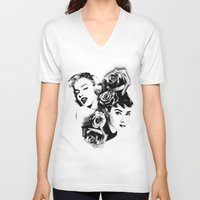 marylin monroe V-neck T-shirts featuring Marylin Monroe and Audrey Hepburn by Sunnicide Pmpkn