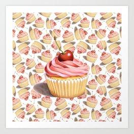 Pink Cupcakes Art Print