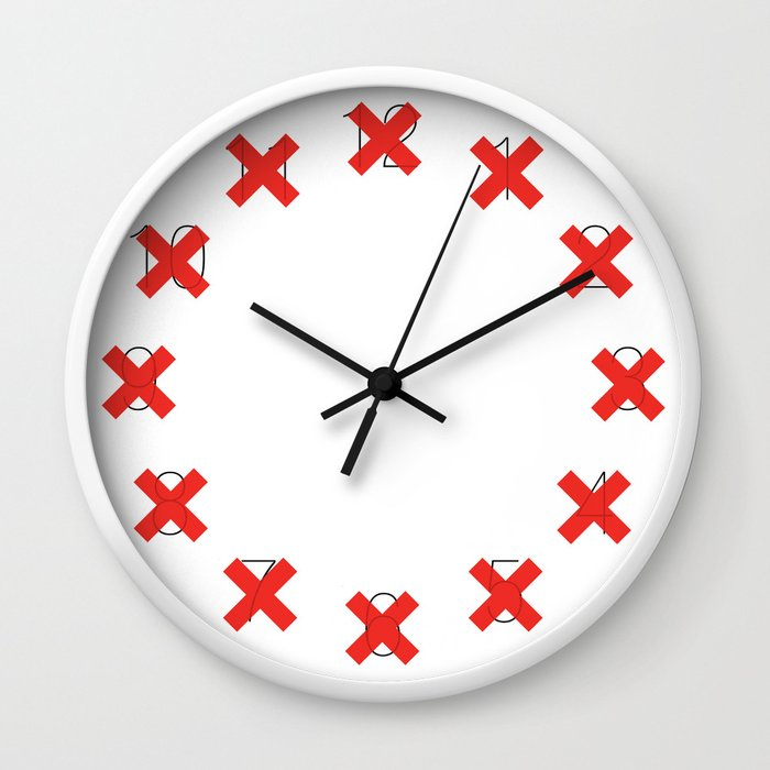 X - on White Wall Clock