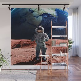 Funny Astronaut on the Mars Wall Mural