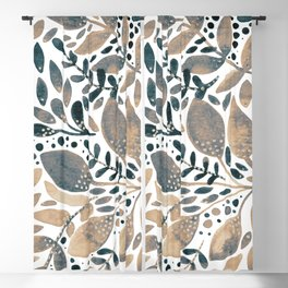 Watercolor branches and leaves - neutral Blackout Curtain