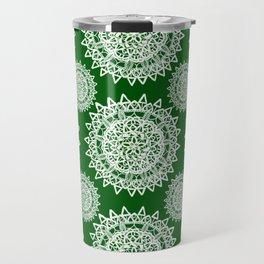 Emerald Green and Silver Patterned Mandalas Travel Mug