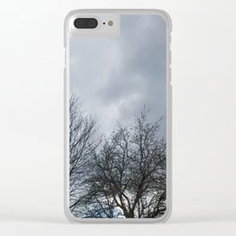 Winter Sky, Cloudy Winter Sky, Beautiful Clouds and Trees Clear iPhone Case