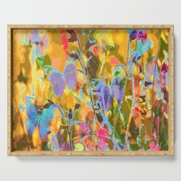 Butterflies flying in meadow - lovely colors and details - summer mood Serving Tray