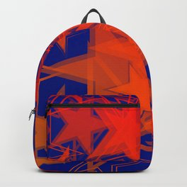 Dark blue metallic background in red stars. Backpack