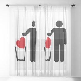 Heart Trash Bin Sheer Curtain