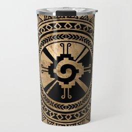 Hunab Ku Mayan symbol black and gold Travel Mug