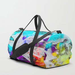 maple leaf with blue purple pink yellow painting abstract background Duffle Bag