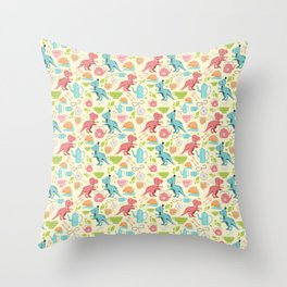 Tea Rex seamless pattern Throw Pillow