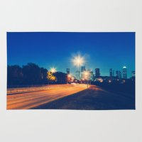 houston Area & Throw Rugs featuring Houston by GF Fine Art Photography