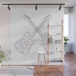 Guitars and ethnic floral mandala in soft pastel colors Wall Mural