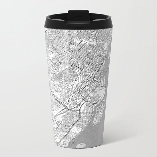 Montreal Map Line Metal Travel Mug
