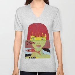 """Redhead Worry"" Paulette Lust's Original, Contemporary, Whimsical, Colorful Art Unisex V-Neck"