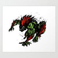 street fighter Art Prints featuring Blanka Rush! - Street Fighter by Peter Forsman