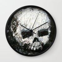 abigail larson Wall Clocks featuring Skull Art by Jack Larson by Jack Larson