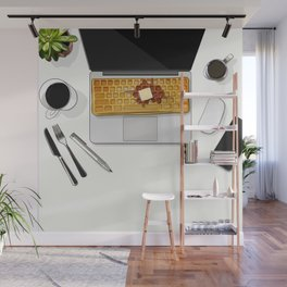 Waffle Laptop Computer Flat Lay Wall Mural