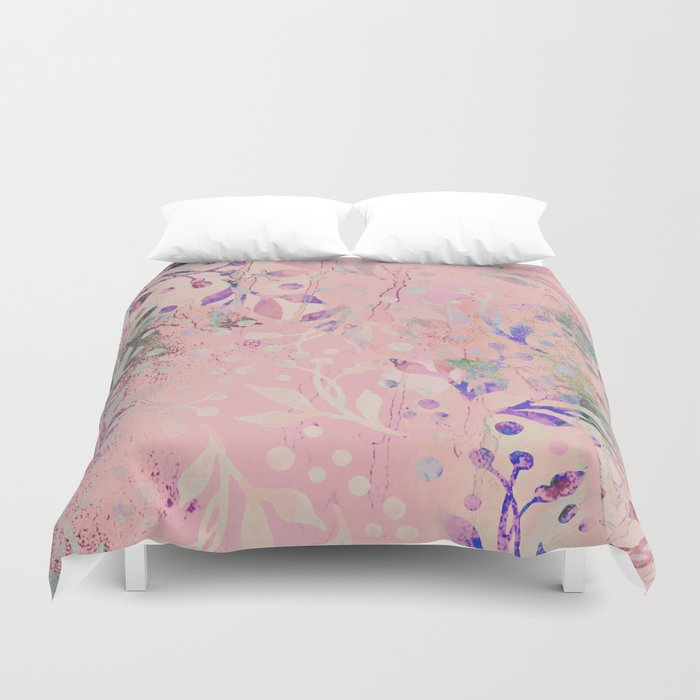 Soft Pink Pastel Floral Watercolor Pattern Bettbezug