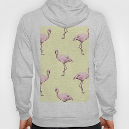 Flamingos in Flamingo Pink on Pale Yellow Hoody