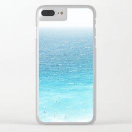 Water, Blue, Sea, Ocean, Minimal, Pattern, Modern art Clear iPhone Case
