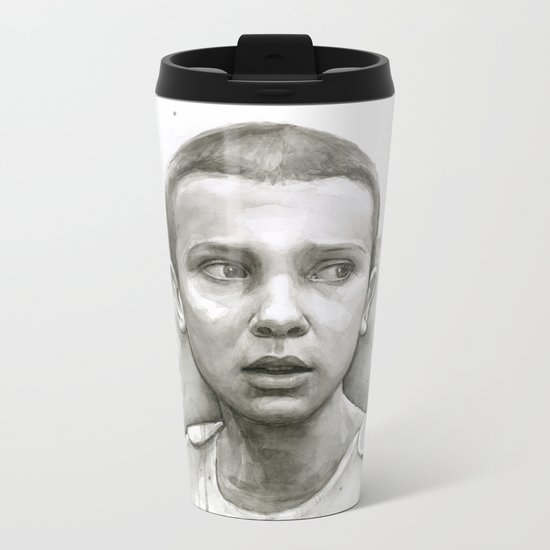 Stranger Things Eleven Portrait Upside Down Metal Travel Mug