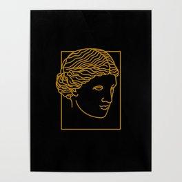 Aphrodite Face in Black Poster